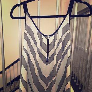 Express zebra print gold zipper tank top large